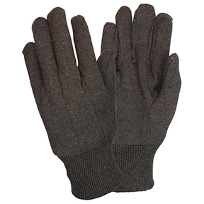 GJBC-MN-1 Mens Brown Jersey Clute Cut Glove Knit Wrist