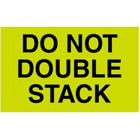 "DL2261 3 x 5 ""Do Not Double Stack"" Green Label w/Black"