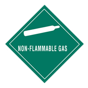 "DL5832 4 x 4 ""Non Flammable Gas"" White Label w/Green Ink"