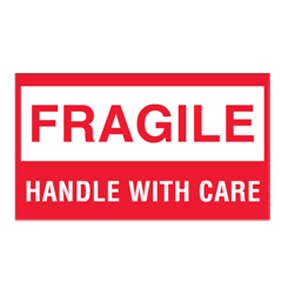 "DL1070 3 x 5 ""Fragile Handle With Care"" White Label w/Red"
