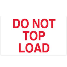 "DL1220 3 x 5 ""Do Not Top Load"" White Label w/Red Ink"