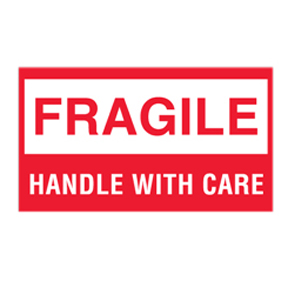 "DL1250 3 x 5 ""Handle With Care Fragile Thank You"" White"