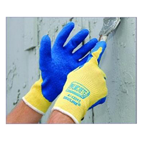 A142091 RAD64056901 Small Blue  Latex Coated Yellow Glove -