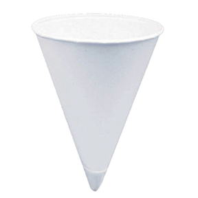 KCI4.0KR 4oz Konie White Paper Rolled Rim Cone Cups