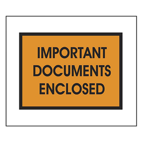 "PL421 5 1/4 x 7 1/2 Orange ""Important Documents"