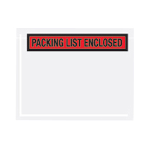 "PL457 7 x 5 1/2 Red ""Packing List Enclosed"" 1/4Face"