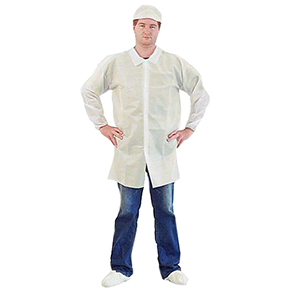 LC0-WE-KG-LRG Large White Microporous Lab Coat, Snap