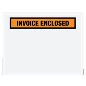 "ENVPQ13 4 1/2 x 5 1/2 Orange ""Invoice Enclosed"" 1/4Face"